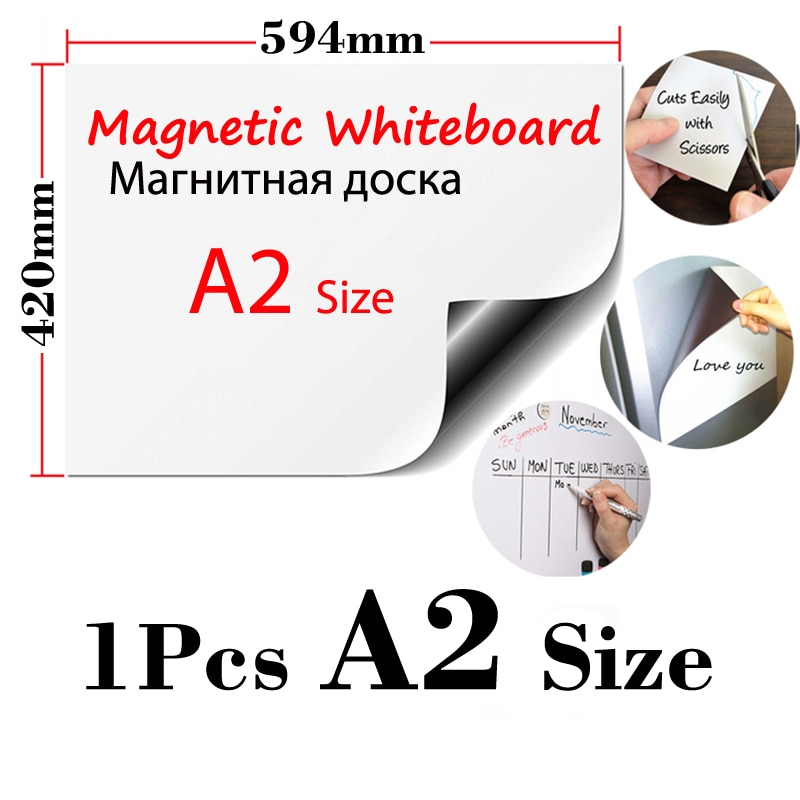 1 Uds A2 tamaño pegatinas magnéticas para el frigorífico papel pintado Adhesivo de pared para niños borrado en seco pizarra blanca Oficina hogar cocina tablero de mensajes