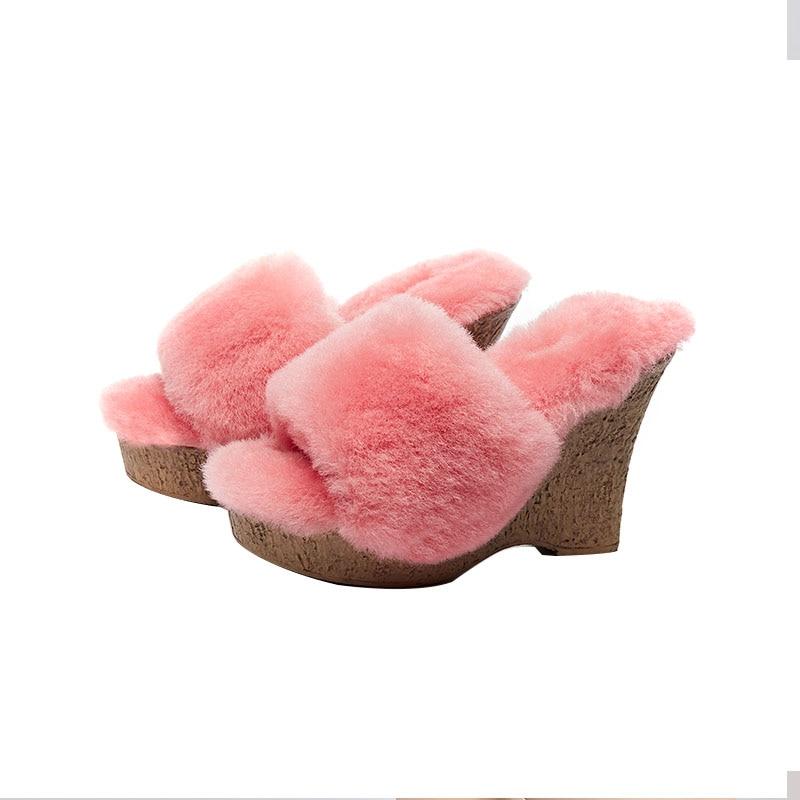 حذاء نسائي حقيقي من امبسوول فروي مصنوع من الفرو عالي الكعب للشتاء الدافئ شبشب البغال مصنوع من القطيفة حذاء سميك 4 ألوان جديد 2021