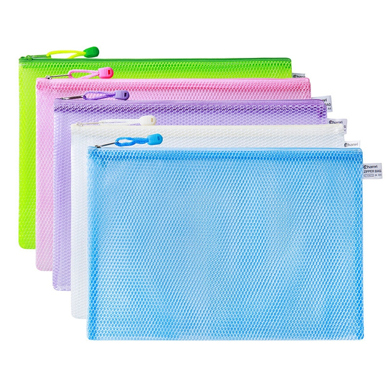 10 unids/lote de bolsas para bolígrafos, bolsa con cremallera resistente al agua, productos para documentos, carpeta de bolsillo, suministros para oficina y escuela, bolsa de plástico