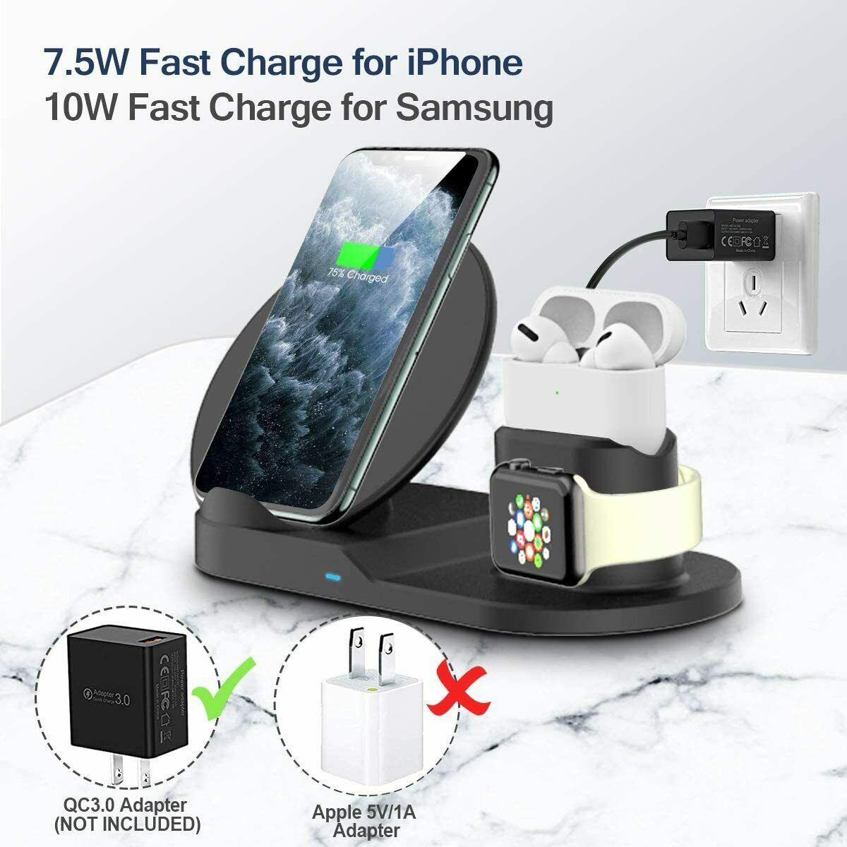 3 en 1 chargeur rapide sans fil Station daccueil charge rapide pour iPhone 12 Pro SE 11 XR XS pour Apple Watch 2 3 4 5 pour AirPods Pro