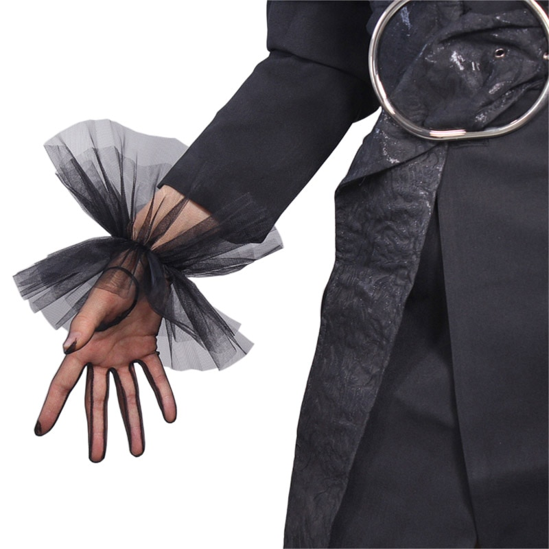 mesh panel lace trim bralette TULLE GLOVES Lace Semi Sheer Mesh Short Black Ruffle Hem Elastic Cuffs Lace Trim Women Evening Gloves WWS12