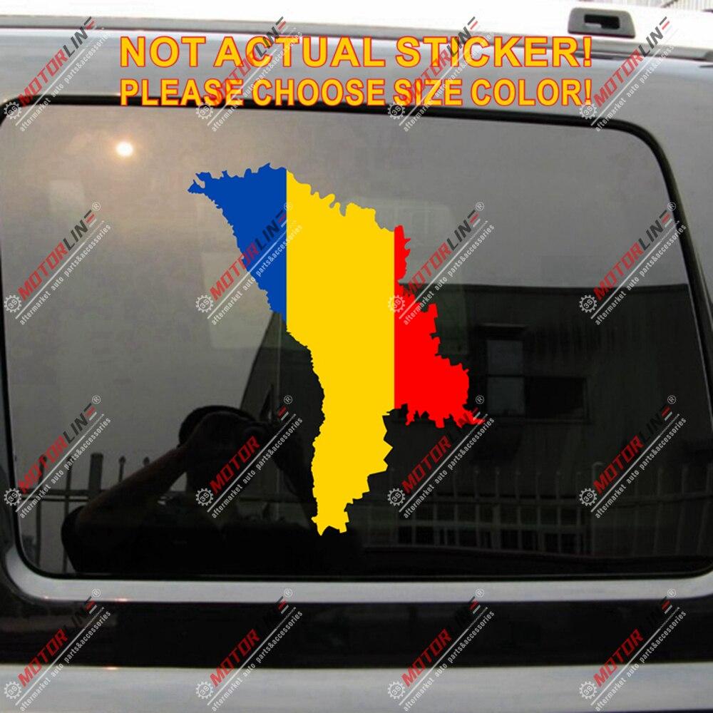Moldova mapa decalque adesivo carro vinil esboço silhueta moldavo tricolor