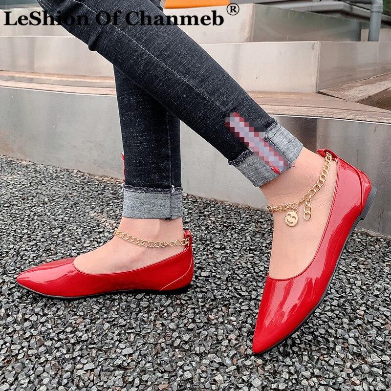 Zapatos planos cómodos de estilo Simple para mujer para todas las ocasiones deslizantes ons tobillo cadena de Metal alpargatas señoras zapato Simple bajo 48 mocasines