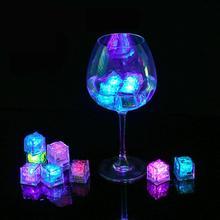 3Pcs LED 빛 아이스 큐브 빛나는 밤 램프 파티 바 웨딩 컵 장식 이벤트 파티 글로우 파티 용품
