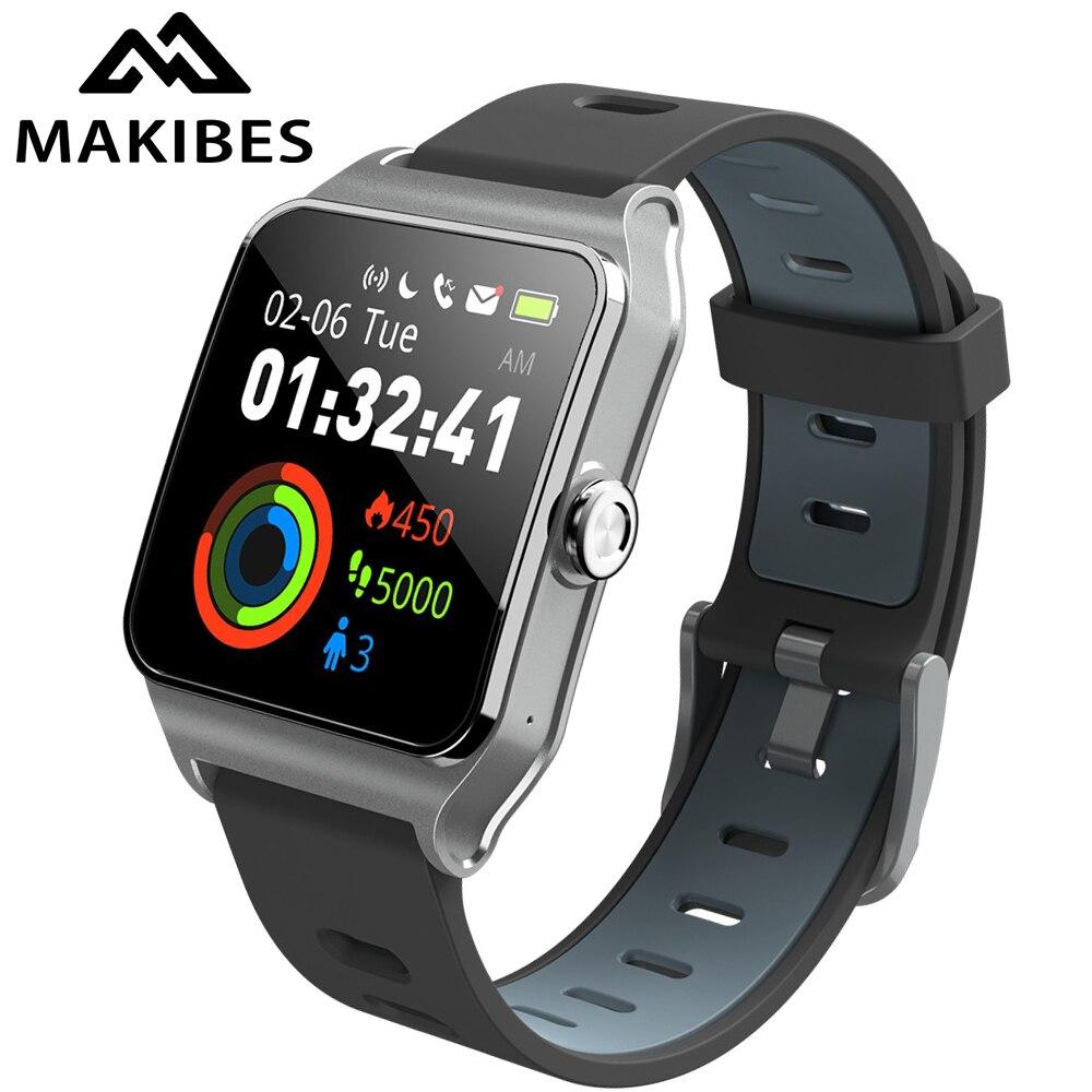 Relojes inteligentes Makibes BR3 para hombres, GPS, pantalla táctil de 1,3 pulgadas, SmartBand IP68, rastreador impermeable para el teléfono, relojes Huawei IOS