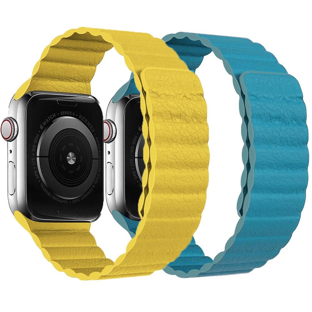 Laço de Couro Genuíno para Apple Banda para Iver Série se 5 4 3 2 1 Ajustável Cinta Magnética 40mm 44mm Ver 38mm 42mm 6