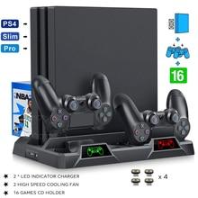 PS4/ PS4 Pro/ PS4 Console mince support Vertical 2 manette charge Dock 2 ventilateur de refroidissement 16 jeux de stockage pour Sony Playstation 4