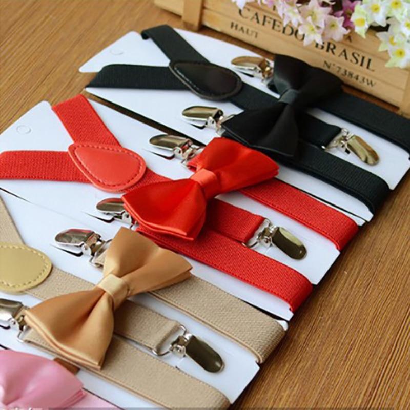 Детские подтяжки с галстуком-бабочкой, Детский галстук-бабочка, Комплект брекеты для мальчиков девочек регулируемые подтяжки Clip-on y-обратно...