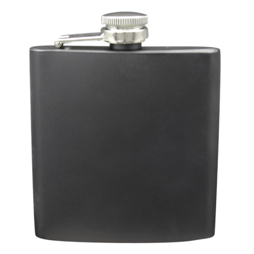 Stainless Steel Pocket Hip Flask Alcohol Whiskey Liquor Screw Cap 6 Ounces Travel Unbreakable Liquor Portable Black Liquor Flask