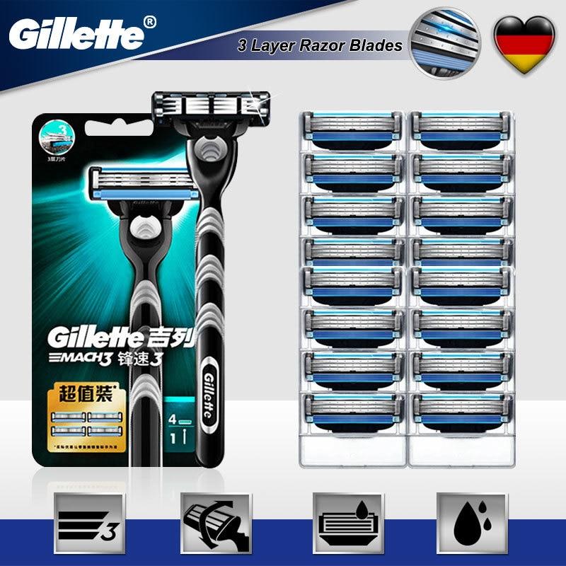Original Gillette Mach 3 Straight Shaving Razor Handle With 3 Layers Face Care Shaving Blades Cassette Razor Blade For Men New
