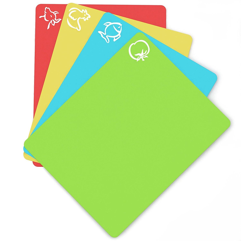 """Гибкие пластиковые Нескользящие разделочные коврики для разделочных блоков с иконами для еды, кухонные инструменты (набор из 4), 15 """"x 12"""""""