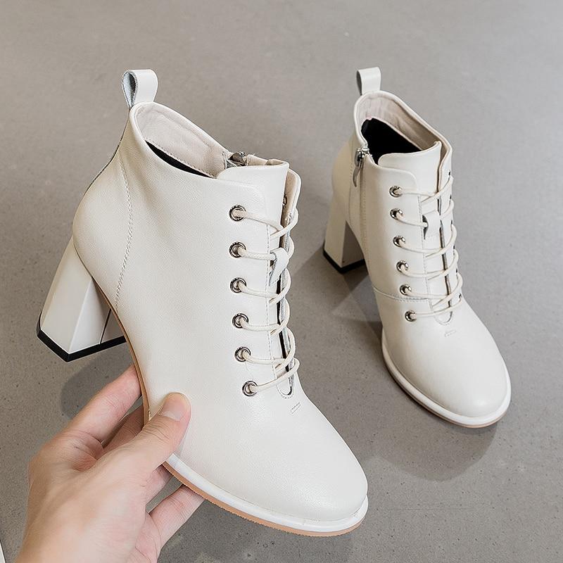 AIYUQI المرأة حذاء من الجلد 2021 جديد الخريف موضة عالية الكعب أحذية النساء كعب سميك جلد طبيعي المرأة أحذية بوت قصيرة