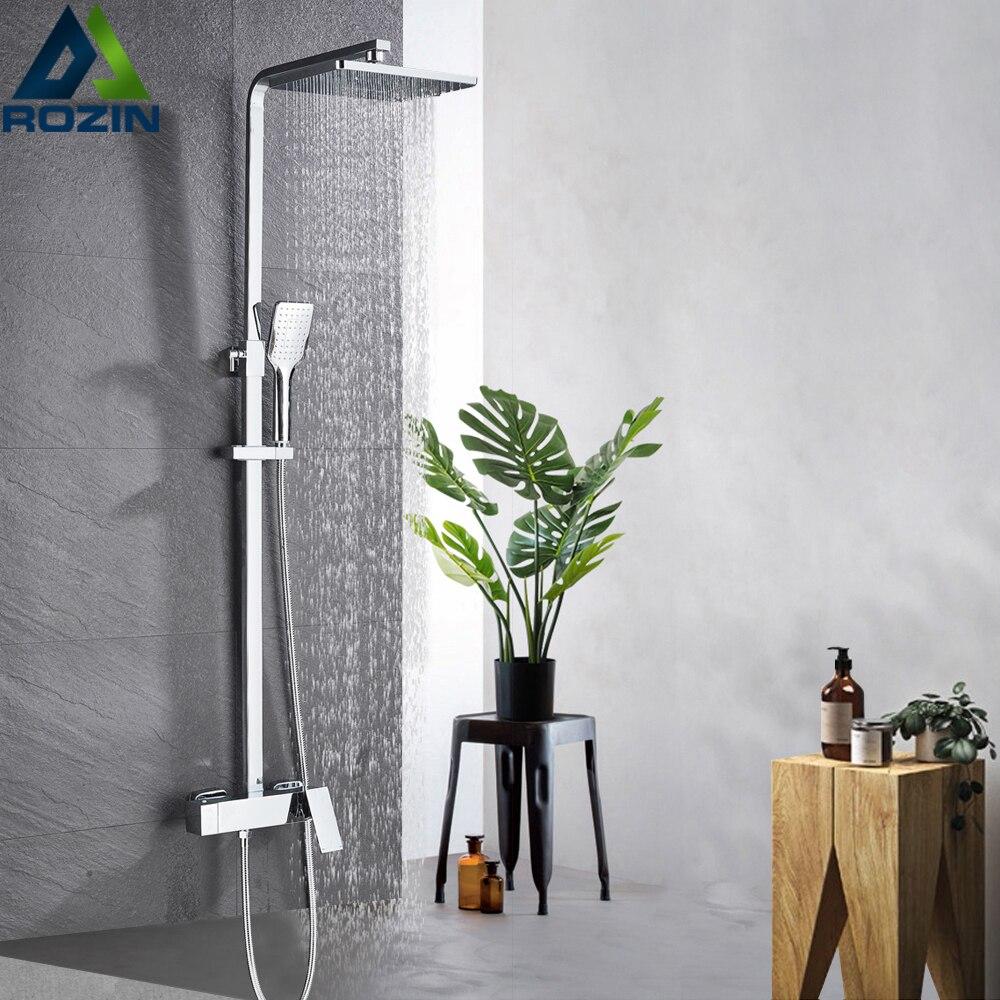 Cromo lluvia grifo de ducha montado en la pared girar regadera bañera ducha Handshower lluvia cabeza Mezclador de Baño grifo