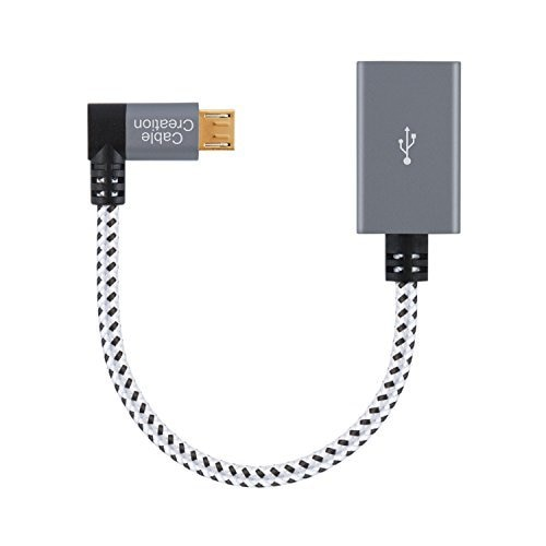 Cable Micro USB 2,0 OTG, Cable trenzado de ángulo recto de 90...