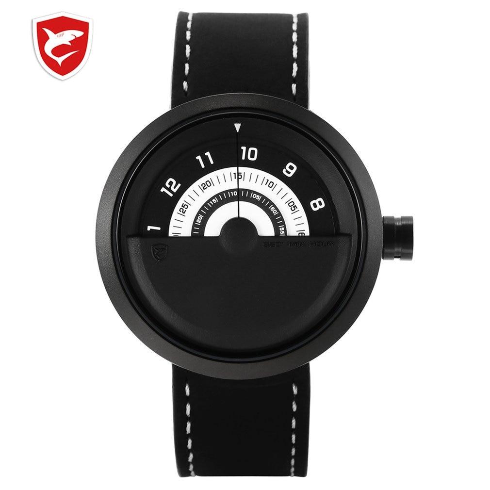 Bonnethead Shark Sport Watch Black White Rotate Indicator No Hand Design Quartz Genuine Leather Watches Man Gift Masculino/SH424