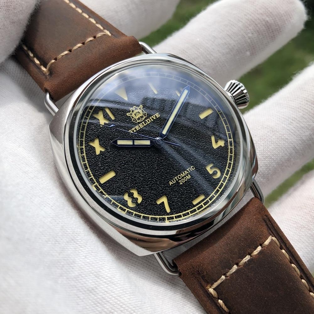 Reloj Steeldive de moda para hombre, reloj de buceo automático, reloj de pulsera Vintage de acero inoxidable, reloj de pulsera resistente al agua de 200m para hombre