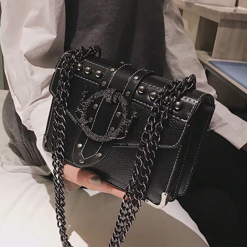 European Fashion Female Square Bag 2020 New Quality PU Leather Women's Designer Handbag Rivet Lock Chain Shoulder Messenger bags
