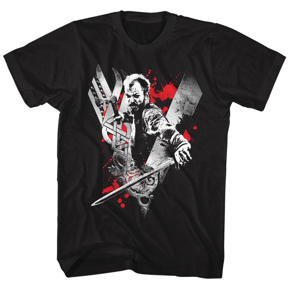 Vikingos camiseta Floki Ragnar Lothbrok historia Tv Show hombres negro en S 3Xl hombres camiseta Tops manga corta de algodón Fitness
