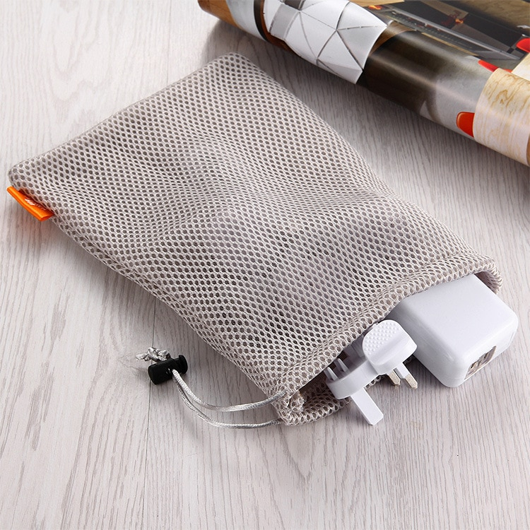 Headphone Phone Nylon Mesh Storage Bag Container Cable Earbuds Data Wire Phone Charger Storage Box O