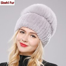 New Women Winter Luxury Real Rex Rabbit Fur Hat Knitted Rex Rabbit Fur Hat Top Natural Fox Fur Cap G