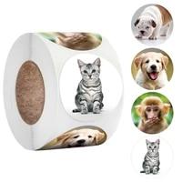 500pcsroll animals stickers 4 design adhesive label sticker scrapbooking for reward sticker stationery teacher for student
