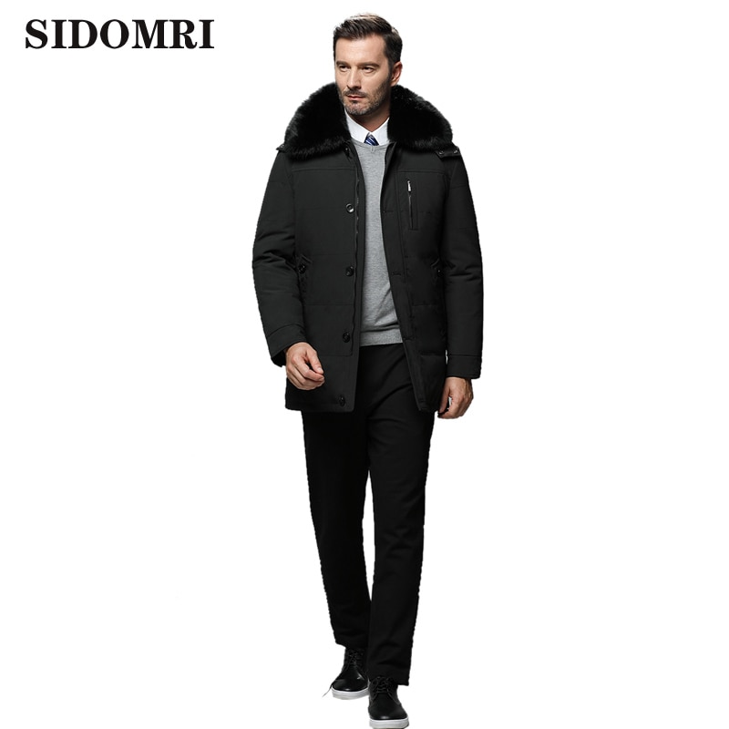 Winter Stylish men down jacket men's medium and long  middle-aged and elderly father warm coat men's hooded coat