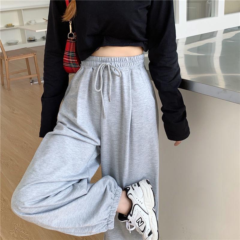 HOUZHOU Gray Sweatpants for Women 2021 Autumn New Baggy Fashion Oversize Sports Pants Balck Trousers Female Joggers Streetwear