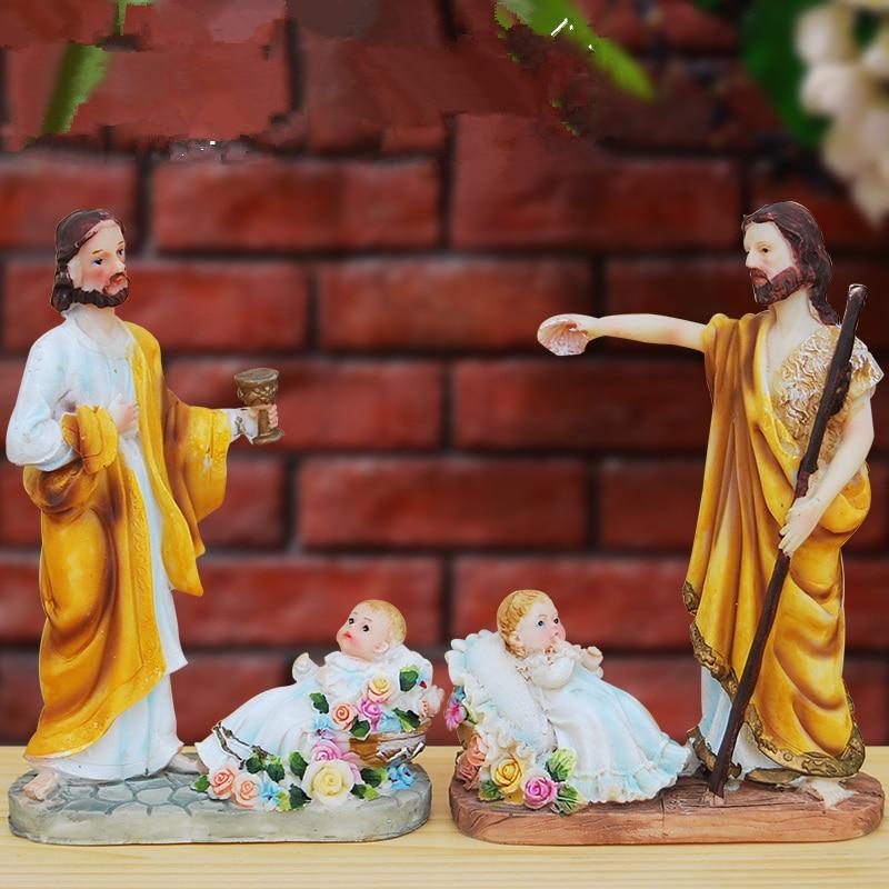Dios cristiano Jesús escultura Cruz coche Interior joyería Biblia icono decoración Iglesia Regalo boda regalo artesanía de resina