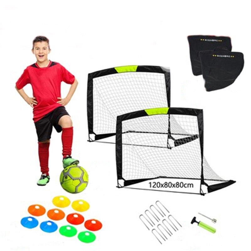 Easy Fold-Up Portable Training Soccer Goal Set Of 2  Ball Frame Outdoor Door Frame Indoor Five-person Seven-person Folding Net