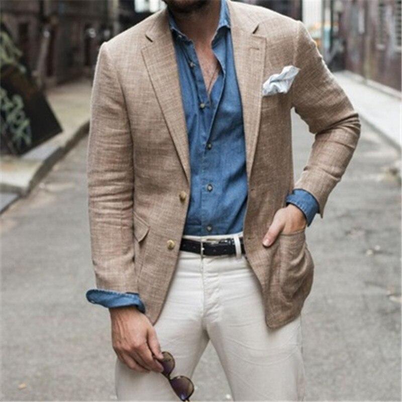 Новое поступление 2020, модный льняной мужской костюм, облегающий Блейзер на заказ, высококачественные костюмы для смокинга, деловые костюмы ...