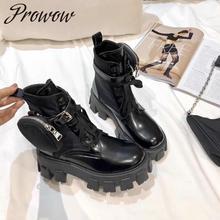 Chaud noir en cuir véritable à lacets bottines boucle sangle correspondant petite poche automne hiver bottes chaussures femmes