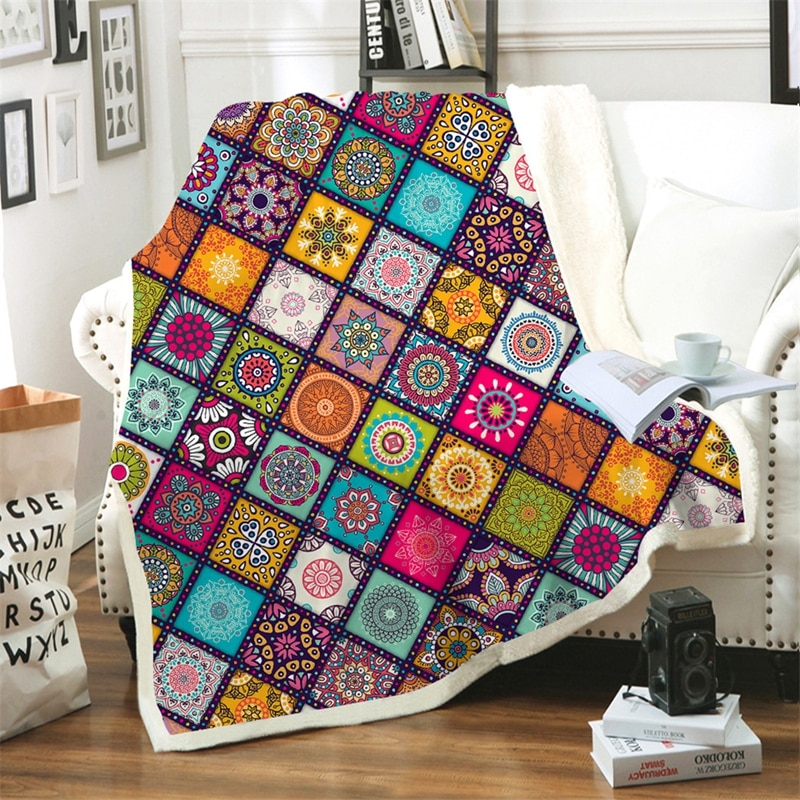 Manta de estilo persa Sherpa Bohemia, con flores, vellón, manta de Picnic para adultos, colcha a cuadros, manta de viaje en el sofá de la cama