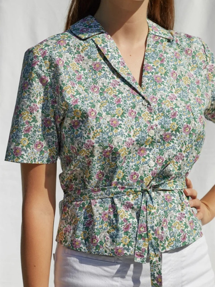 Notched Women Floral Blouse 2020 New Short-sleeved Single-breasted Lady Short Shirt And Top With Sashes