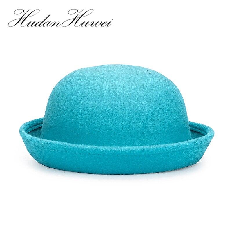 Трендовая однотонная шляпа Боулер Дерби для женщин и девочек, шерстяная фетровая шляпа, женские и детские купольные фетровые шапки, шляпа-т...