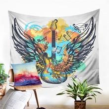 A  Guitar Tapestry Wall Hanging Sandy Beach Picnic Rug Camping Tent Sleeping Pad Home Decor Bedspread Sheet Wall Cloth
