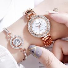 Top Brand Luxury Bracelet Watches Set For Women Fashion Geometric Bangle Quartz Clock Ladies Wrist W