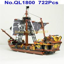 Ql1800 722 Uds dios de la tormenta Barco Pirata 4 figuras juguete de bloques de construcción