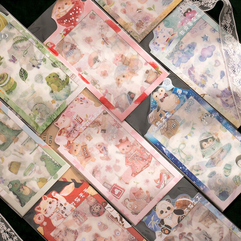4 unids/bolsa de animales de dibujos animados dorado mini pegatina de papel para decoración pegatinas DIY diario pegatina para planificador de colección de recortes