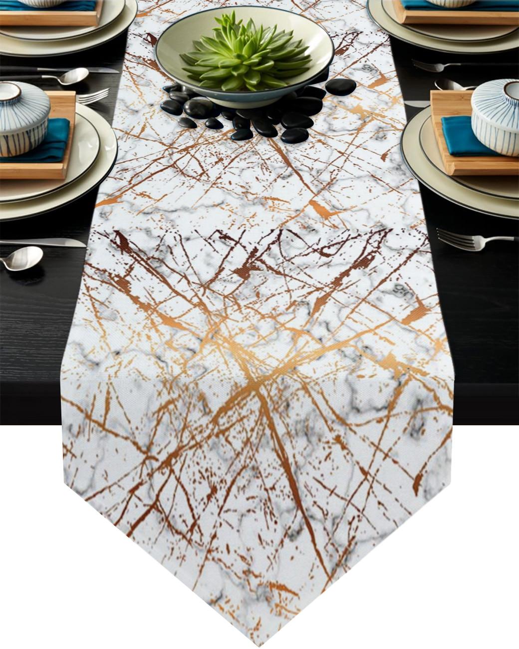 مفرش طاولة رخام أبيض وأسود ، نمط الكراك ، زينة طاولة الزفاف ، زهرة ، كعكة ، ديكور طاولة طعام للمآدب