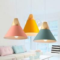 Pendant Lights Modern Wood Pendant Lamp Nordic light For Cafe Restaurant Bedroom Kitchen Colorful kitchen lights light fixtures