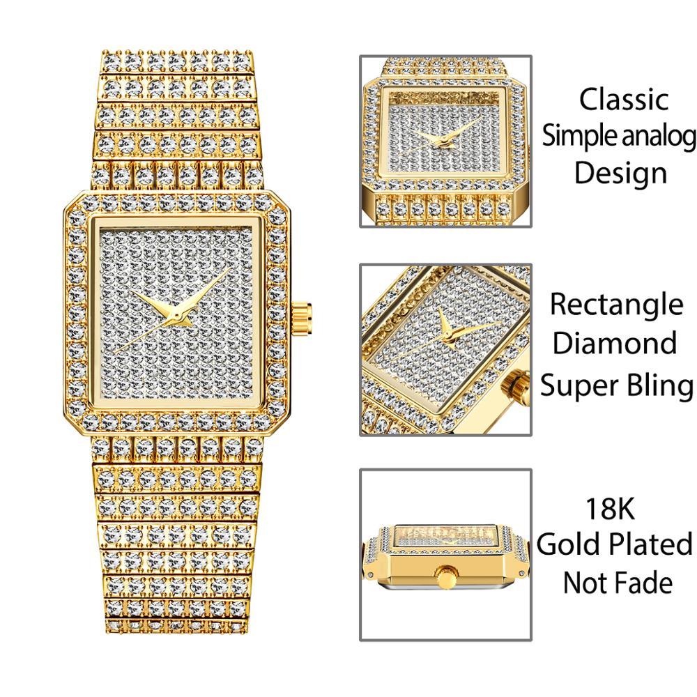 MISSFOX Diamond Watch For Women Luxury Brand Ladies Gold Square Watch Minimalist Analog Quartz Movt Unique Female Iced Out Watch enlarge