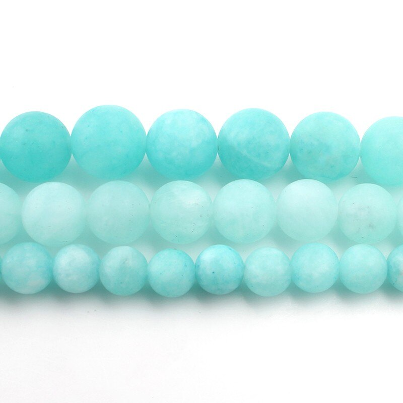 6/8/10mm fosco azul rio amazonite matte contas pedras naturais redondas grânulos soltos para fazer jóias pulseira colar diy