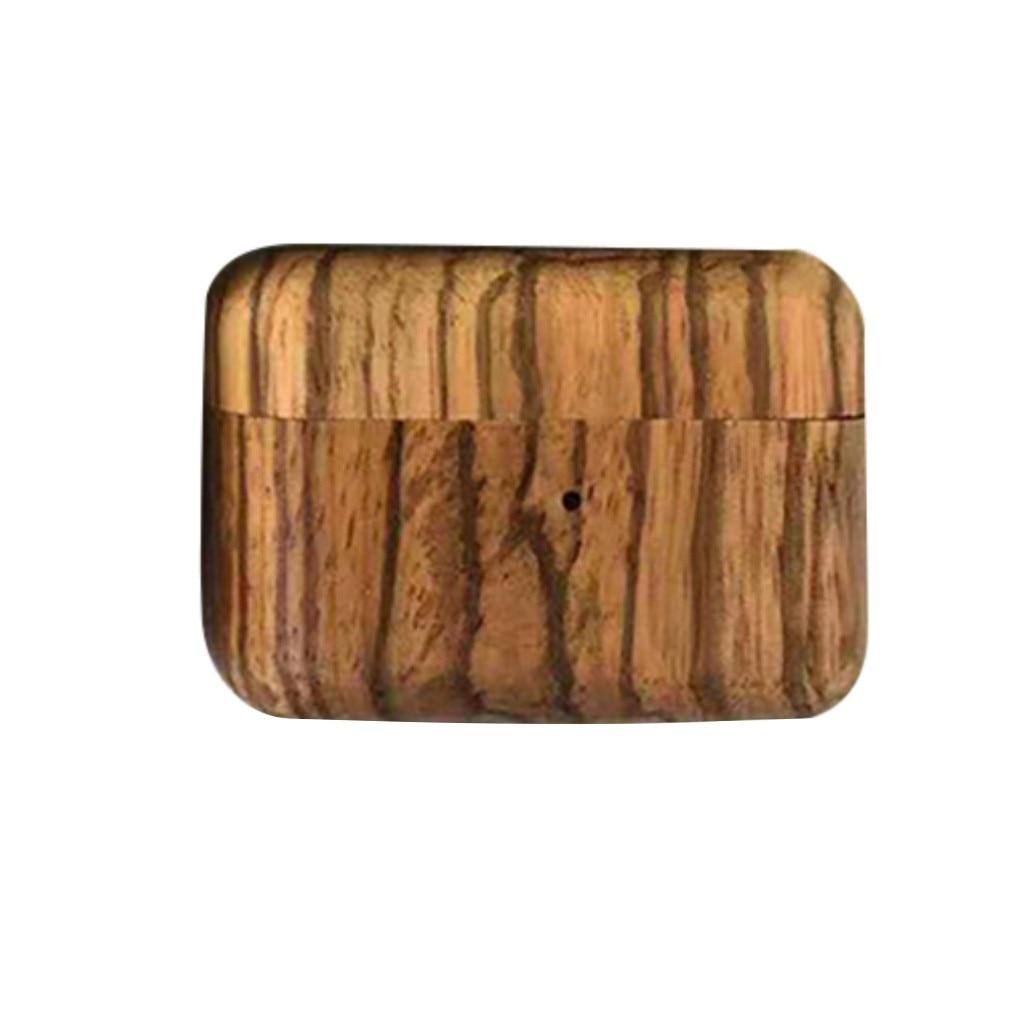 Para AirPods Pro Carcasa protectora rígida para auriculares estuche de carga a prueba de golpes soporte de anillo para AirPods de madera sólida a prueba de golpes