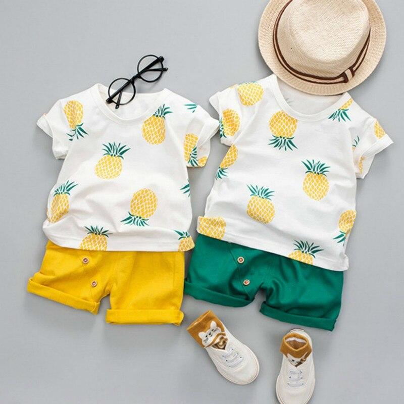 Niños de primavera y verano de camiseta de Color sólido corto Casual WearLeisure ropa niños recién nacidos Abbigliamento Neonao