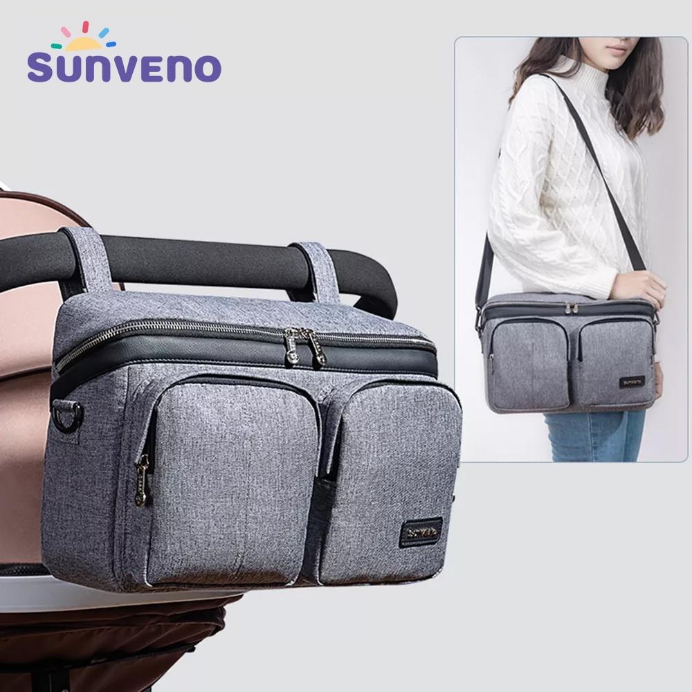 Sunveno حقيبة منظم لعربة الأطفال, Sunveno حقيبة حفاضات لمستلزمات عربة الأطفال وملحقات عربة الأطفال للسفر