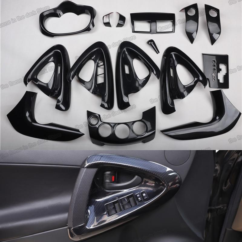 Équipement de commande centrale de voiture   En Fiber de bois Lsrtw2017 garnitures intérieures pour Toyota Rav4 2007 2008 2009 2010 2011 2012 2013