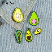Avocat émail broches personnalisé fruits frais broches sac vêtements épinglette dessin animé fantôme chat poire Badge drôle Meme bijoux cadeau enfants