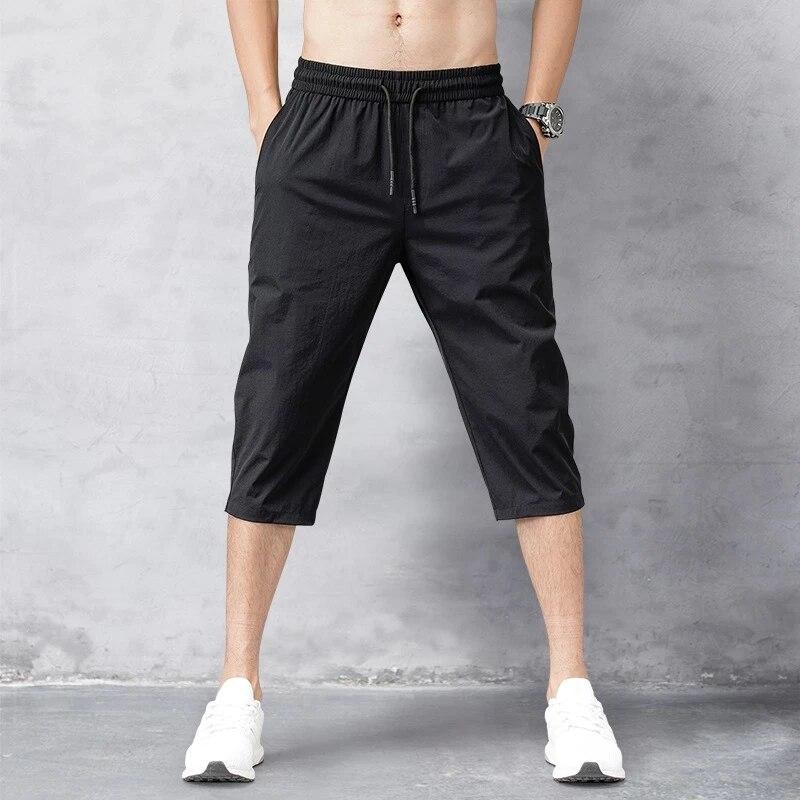 Мужские шорты 2 шт./лот, летние бриджи, 2021 тонкие нейлоновые брюки длиной 3/4, мужские шорты-бермуды, быстросохнущие пляжные мужские длинные шо...