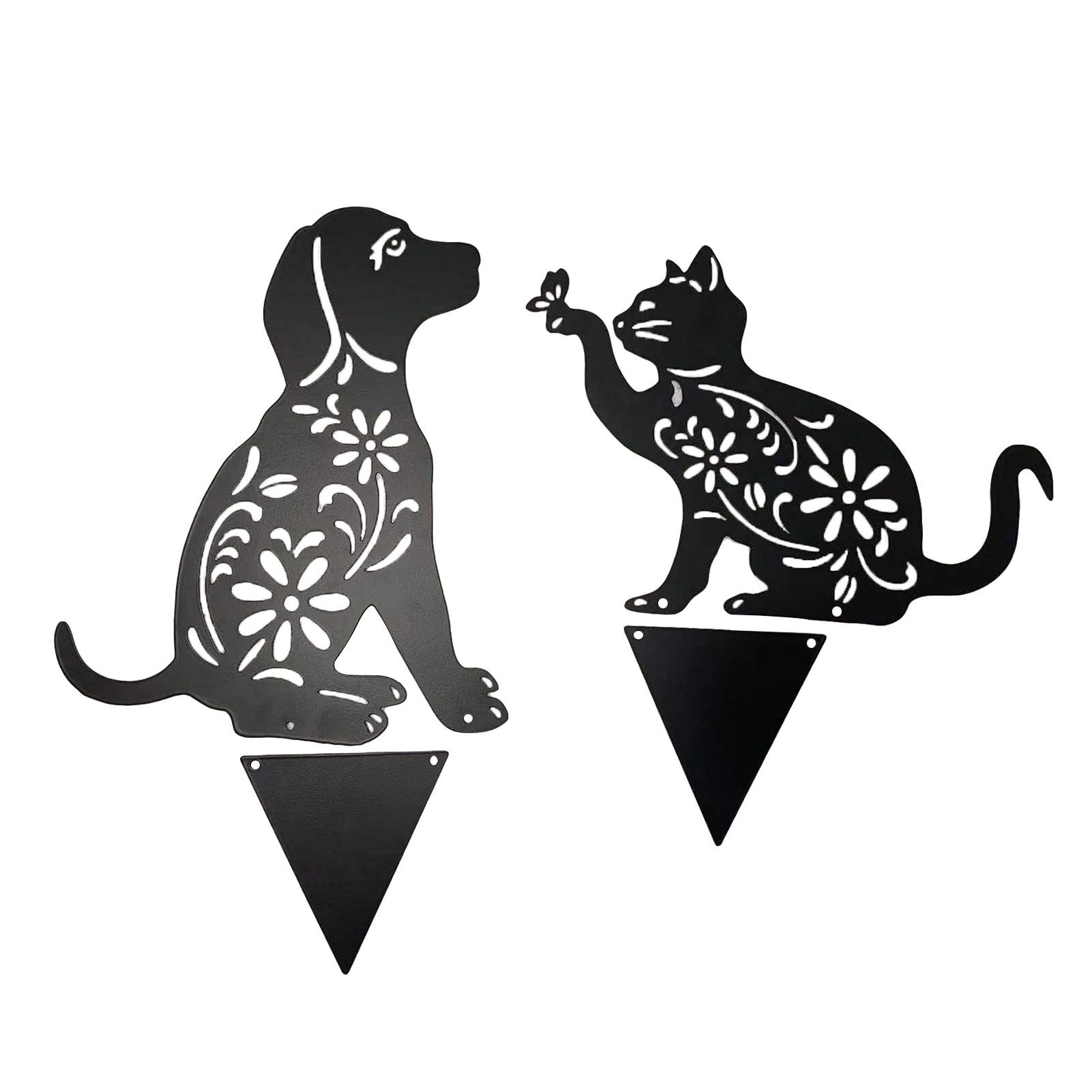 Outdoor METAL CAT DOG HOLLLOW OWT Cat Figure Ground Insert Decoration Manor Lawn Garden Decor Sculpture Hollow Black Iron Cat