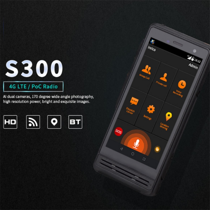 Inrico S300 4G Zello Network POC Radio Real PTT WiFi SOS GPS IP67 Android Walkie Talkie with Al Dual Cameras